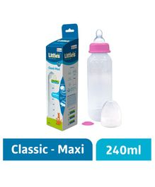 Little's Classic Maxi Polypropylene Feeding Bottle Pink - 240 ml