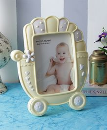 Quirky Monkey Baby Carriage Photo Frame - Yellow