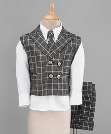 Jeet Ethnics Checkered Full Sleeves 3 Piece Party Suit With Tie - Grey & White