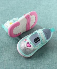 e27e304d7979 Cute Walk By Babyhug Casual Shoes Glitter & Sequin Details - Green