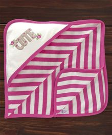 Pink Rabbit Hooded Stripe Towel Cute Embroidery - White Pink