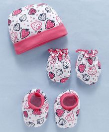 Babyhug Cotton Cap Mittens & Booties Set Strawberries Print - Pink White