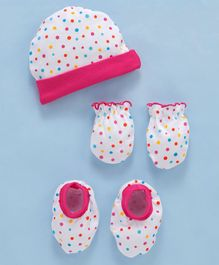Bbayhug Cotton Polka Dotted Cap Mittens & Booties Set - White Pink