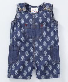 Eimoie Printed Sleeveless Romper - Dark Blue