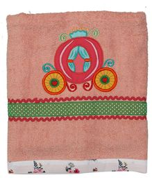 Princess & her Bunny Bath Towel Carriage Embroidery - Peach