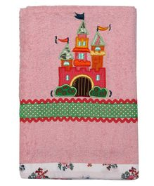 Princess & her Bunny Bath Towel Castle Embroidery - Pink