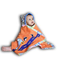 Princess & her Bunny Car Embroidered Hooded Bath Towel Wrap - Orange