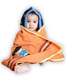 Princess & her Bunny Prince Embroidered Hooded Bath Towel Wrap -Orange