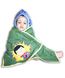 Princess & her Bunny Hooded Bath Towel Boy Embroidery - Green