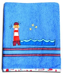 Princess & Her Bunny  Hand Towel Lighthouse Embroidery - Royal Blue