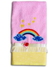 Princess & Her Bunny  Hand Towel Rainbow Embroidery - Pink