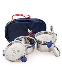 Falcon Eco Nxt Stainless Steel Lunch Box Set With Spoon Navy - Pack Of 2