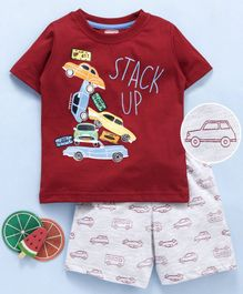 Babyhug Half Sleeves T-Shirt & Shorts Set Cars Print - Ecru Red