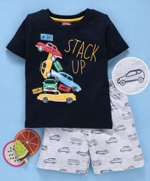 Babyhug Half Sleeves T-Shirt & Shorts Set Cars Print - Ecru Black