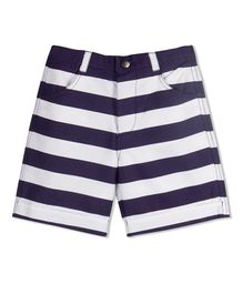 Young Birds Knee Length Striped Shorts - Navy Blue