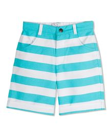 Young Birds Knee Length Striped Shorts - Light Blue