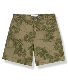 Young Birds Leaves Print Knee Length Shorts - Green