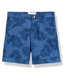 Young Birds Leaves Print Knee Length Shorts - Blue