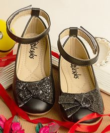 Little Soles Glitter Bow Applique Mary Jane - Black