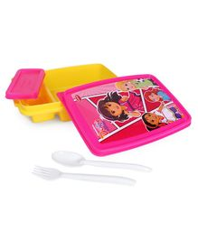 Dora & Friends Lunch Box With Fork & Spoon - Pink Yellow