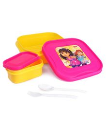 Dora Lunch Box With With Small Container Spoon & Fork - Yellow Pink