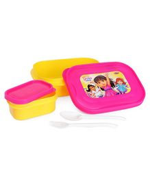 Dora & Friends Lunch Box Lunch Box With Small Lunch Box, Fork & Spoon - Blue Yellow