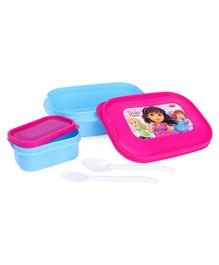 Dora & Friends Lunch Box Lunch Box With Small Lunch Box, Fork & Spoon - Blue Pink