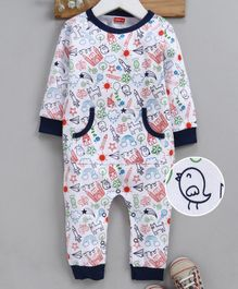 Babyhug Full Sleeves Cotton Romper Multi Print - Navy White