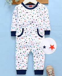 Babyhug Full Sleeves Cotton Romper Stars Print - Navy Blue White