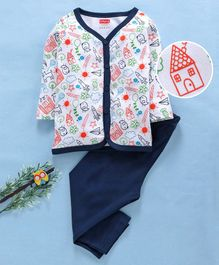 Babyhug Full Sleeves Cotton Night Suit Multi Print - White Navy