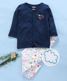 Babyhug Full Sleeves Cotton Night Suit - Navy White