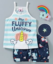 U R Cute Sleeveless My Fluffy Unicorn Print Striped Tee With Printed Shorts - Blue