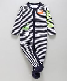 Babyoye Full Sleeves Footed Romper Striped & Printed - Navy Blue
