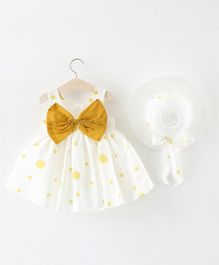 Pre Order - Awabox Sleeveless Dot Print Dress With Hat - Yellow