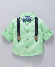 Babyoye Full Sleeves Solid Cotton Shirt With Suspender & Bow - Light Green