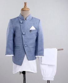 Babyoye Full Sleeves 3 Pieces Sherwani - White Blue