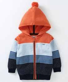 Babyoye Full Sleeves Striped Hooded Sweater - Orange