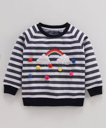 Babyoye Striped Sweatshirt Cloud Applique - White Black