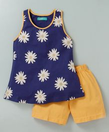 Tiara Sleeveless Flower Print Frock Style Top With Shorts - Blue & Yellow