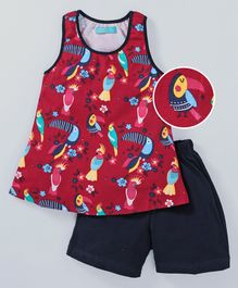 Tiara Sleeveless Bird Printed Frock Style Top With Shorts - Red & Blue