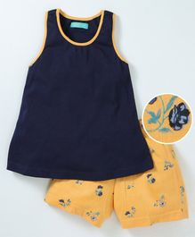 Tiara Sleeveless Solid Top With Flower Printed Shorts - Navy Blue & Yellow