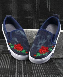 Kidlingss Rose Patch Casual Shoes - Dark Blue