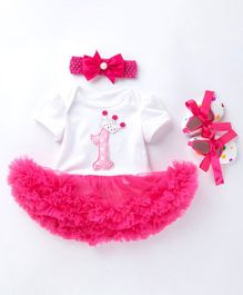 Pre Order - Awabox Short Sleeves Number Patch Onesie With Headband & Booties - Pink
