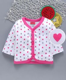 Babyhug Full Sleeves Cotton Vest Heart & Anchor Print - White Pink
