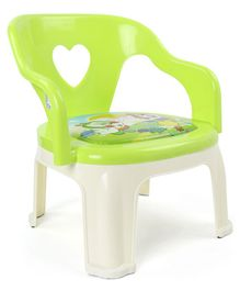 Solid Plastic Baby Chair Cartoon Print - Green