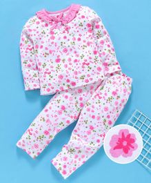 Babyhug Full Sleeves Night Suit Floral Print - Pink
