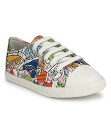 Tuskey Printed Lace Up Casual Shoes - White