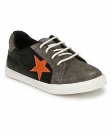 Tuskey Star Patch Lace Up Casual Shoes - Black