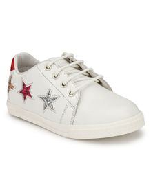 Tuskey Sequin Star Patch Lace Up Shoes - White