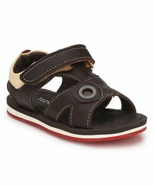 Tuskey Velcro Closure Leather Sandal - Brown